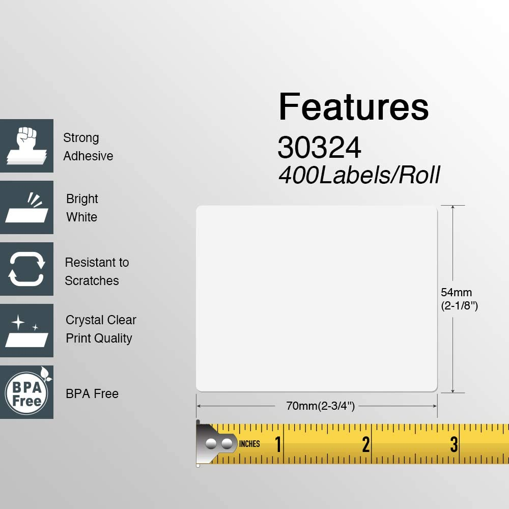 50 Rolls; 400 Labels per Roll of Compatible with DYMO 30324 Media Labels BPA Free! 2-1//8 x 2-3//4