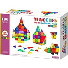 Maggies, 100 Piece Set 100pcs Magnet Building Tiles Clear Magnetic 3D Building Blocks Construction Playboards, Creativity beyond Imagination, Inspirational, Recreational, Educational Conventional