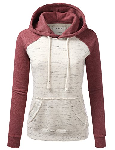 Raglan Sweatshirt (NINEXIS Womens Long Sleeve Marled Oatmeal Raglan Pullover Hoodie Sweatshirt Brick L)