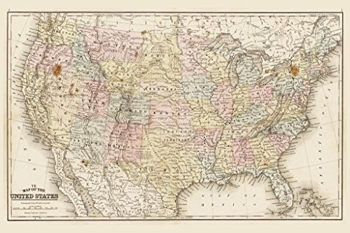 rica 1867 Antique Style Map Mural Giant Poster 36x54 inch ()
