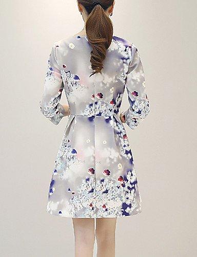 PU&PU Robe Aux femmes Trapèze Street Chic,Fleur Col Arrondi Au dessus du genou Acrylique , light blue-m , light blue-m
