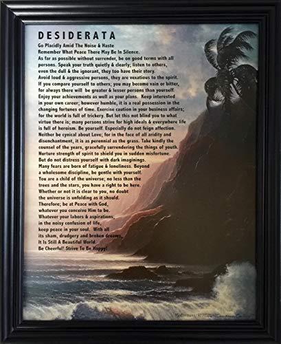 Desiderata Poem by Max Ehrmann Tropical Art in Black Solid Wood Wall or Desk - Poem Shelf