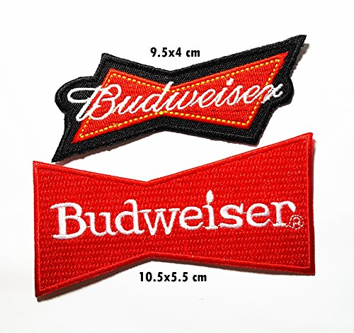 2 pieces BUDWEISER PKW Auto NASCAR Dodge V8 Racing Team Motorsport USA Formula 1 F1 Racing Club Band Logo Patch Sew Iron on Embroidered Badge Sign Costume Gift]()