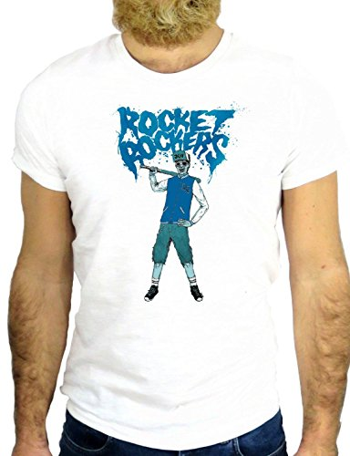 T SHIRT Z0788 ROCKET ROCKERS FUN CARTOON ROCK VINTAGE AMAZING WAR FIGHTER GGG24 BIANCA - WHITE S