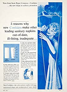 1962 Ad Vintage Confidets Sanitary Napkins Pads Female Hygiene Scott Paper YWD2 - Original Print Ad
