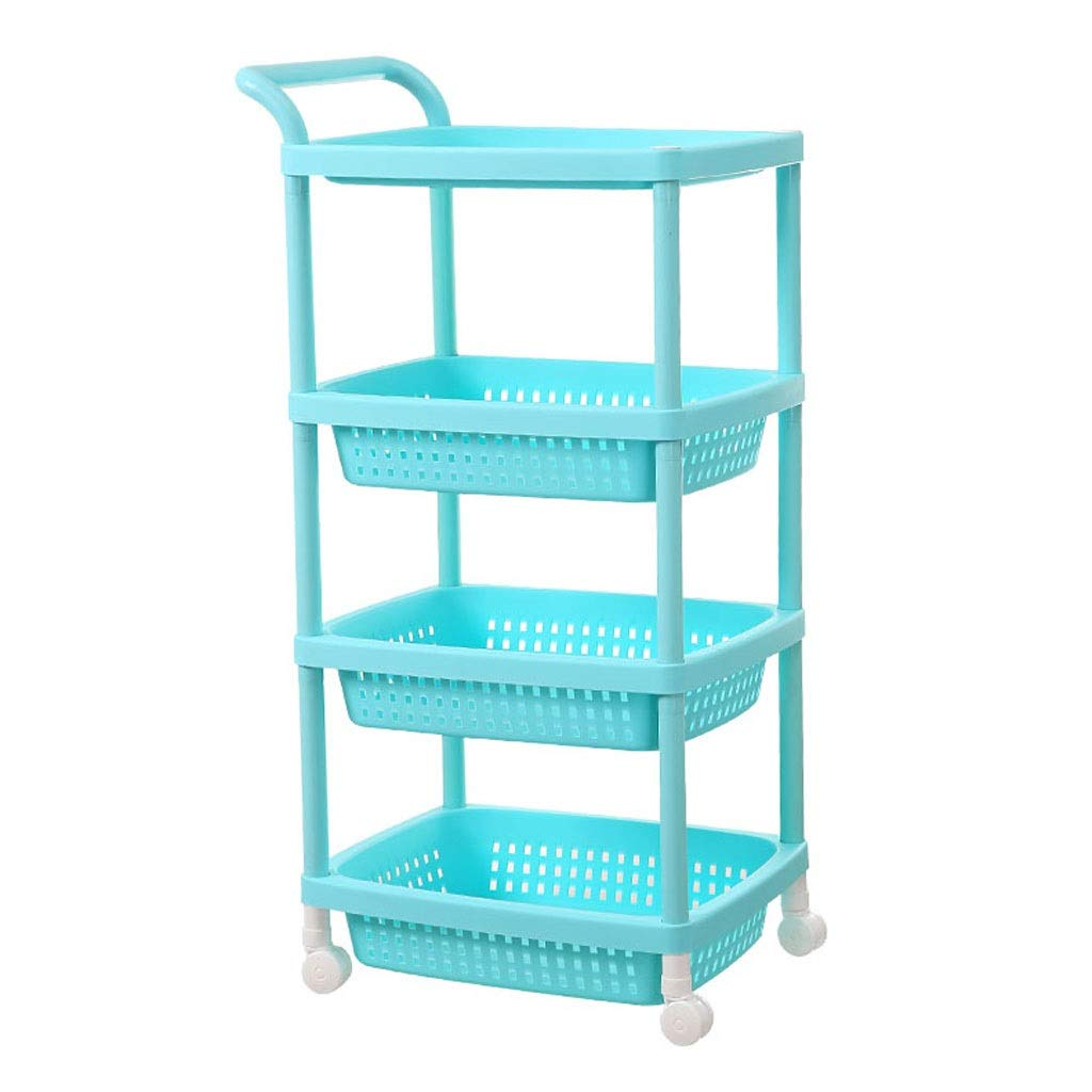 bluee Green Plastic Storage Cart with Pulley with Handle Racks 3 Layers Beauty Shop Nail Shop Tool Storage Rack (color   Pink)