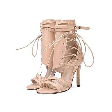 2cd9457e238 Amazon.com: Dress Sandal for Women&Girls Ankle Strap Shoes Lace-up ...