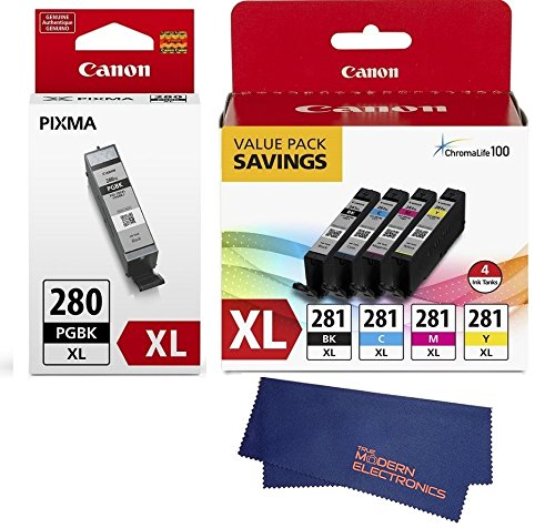 Canon CLI-281 XL BKCMY 4-Color Ink Tank Value Pack (2037C005) + Canon PGI-280 XL Pigment Black Ink Tank (2021C001)