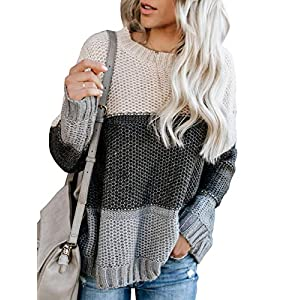 Ybenlow Womens Color Block Oversized Crewneck Sweaters Striped Long Sleeve Loose Chunky Knitted Pullover Jumper Tops
