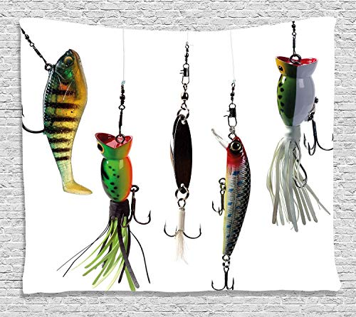 YouXianHome Fishing Tapestry Kids, Various Type of Fishing Baits Hobby Leisure Passtime Sports Hooks Catch Elements, Tapestry Clips for Hanging, 90 W x 60 L Inches, White Multicolor (Skins Passt)