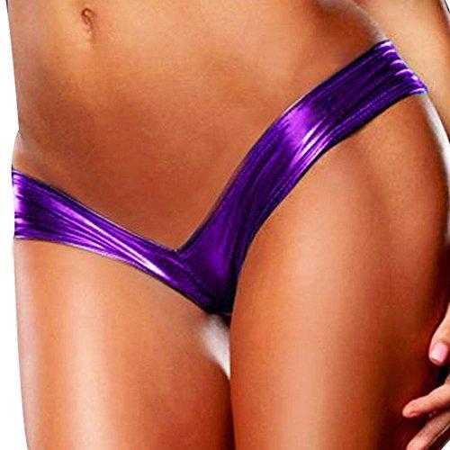 (Alvivi Sexy Women's Wet Look PVC Leather Metallic Micro G-String Thong Booty Shorts Panties Purple One_Size)