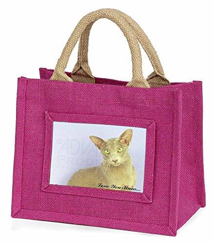 Advanta–Mini Pink Jute Beutel Oriental Katze Love You Mum Little Mädchen klein Einkaufstasche Weihnachten Geschenk, Jute, pink, 25,5x 21x 2cm