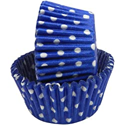 Regency Wraps Greaseproof Baking Cups, Cobalt Blue Polka Dots, 40-Count, Standard.