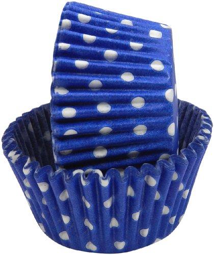 Patisserie Cup - Regency Wraps Greaseproof Baking Cups, Cobalt Blue Polka Dots, 40-Count, Standard.
