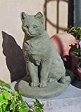 Campania International A-228-GS Garden Cat Statue, Grey Stone Finish