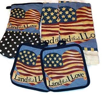 Land That I Love American Heart Flag Design Kitchen Set 5 Piece - 2 Potholders, 1 Oven Mitt & 2 - Heart American Flag