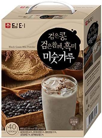 DAMTUH Korean Roasted Black Grains Mixed Powder with Black Beans, Black Sesame Seeds, Black Rice, (Misugaru), 20g x 40 Sticks