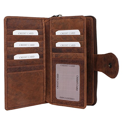 (Genuine Leather Bifold Clutch Wallet - Card Pockets for Billfold, Cash, Coin By Rustic Town ~ Gift for Ladies)