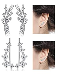 Thunaraz 3-4 Pcs Leaf Ear Cuffs Climber Earrings Cubic Zirconia Crystal Ear Cuff Wrap for Women Girls