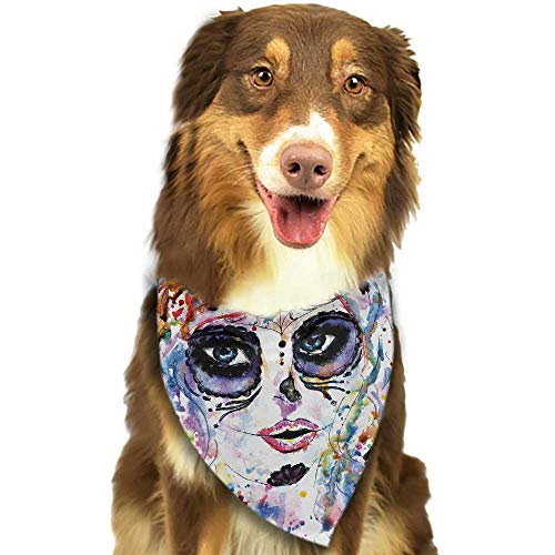 Pet Dog Scarf Sugar Skull Halloween Girl with Sugar Skull Makeup Watercolor Painting Style Creepy Look W27.5 xL12 Scarf for Small and Medium Dogs and Cats -