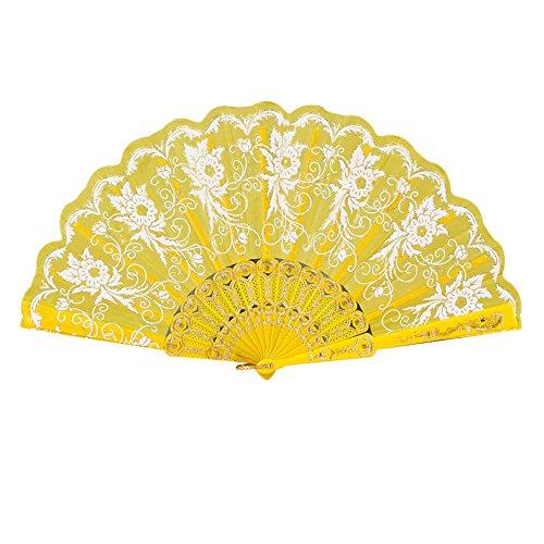 (❤SU&YU❤ Chinese/Spanish Style Dance Wedding Party Lace Silk Folding Hand Held Flower Fan (Yellow))