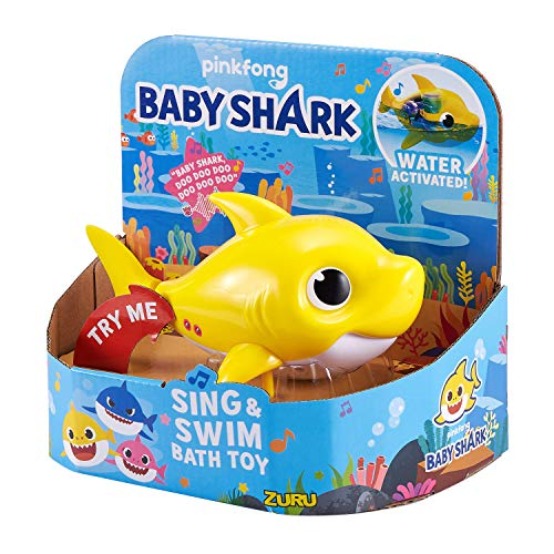 511hqO%2BWvIL - Robo Alive Junior Baby Shark Battery-Powered Sing and Swim Bath Toy by ZURU - Baby Shark (Yellow) (Color may vary)
