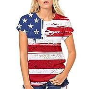 RAINED-Women Plus Size Shirt Girls America Flag Tee Short Sleeve T Shirt Patriotic Shirt Independence Day Tee Stripe Top