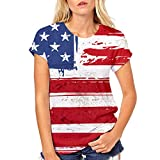 Respctful✿American Flag Clothing for Women Summer O Neck Raglan Short Sleeve Shirts Casual Short Sleeve Red