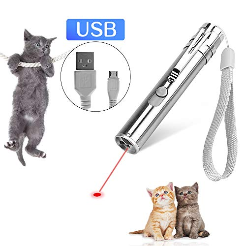 HapFun Interactive Cat Toys,3 in 1 Pets Chaser Wand Training Tools with USB Charging for Cat Dog Kitten Exercise 2