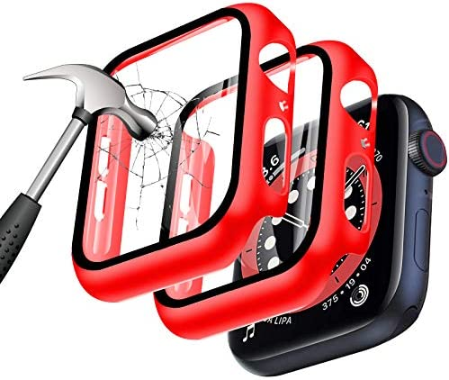 [2 Pack] YMHML Case for Apple Watch 44mm Series 6 / SE/Series 5/4 with Built-in Tempered Glass Screen Protector, Hard PC Ultra-Thin Cover for iWatch 44mm Accessories (Red)