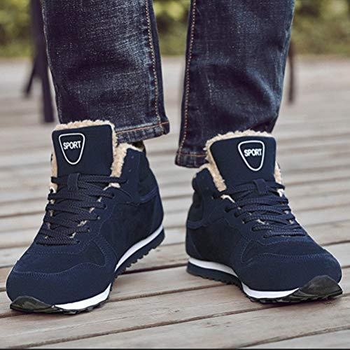 Bottes Hommes Feidaeu Bleu Chaudes Boots Lacets Chaussures Bottines Cheville Foncé Courtes Fourrure Chaussure De Neige Hiver Mode Résistant ngtgv