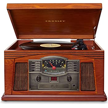 Crosley CR42D PA Lancaster 3 Speed Turntable With Radio, CD/Cassette Player