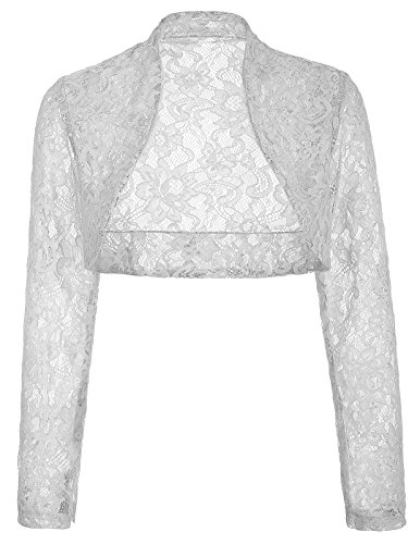 JS Fashion Vintage Dress Lightweight Bolero Shrug Hollow Design Stand Collar (3XL,Gray BP49)