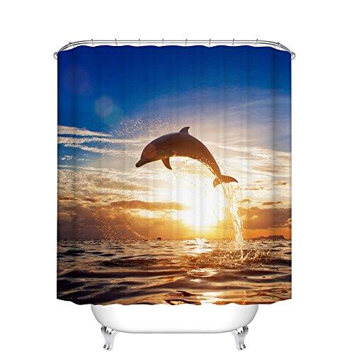 Fangkun Shower Curtain Custom Sunset Dolphin Art Print Pattern - Waterproof Polyester Fabric Bath Curtains Decor Set - 12pcs Shower Hooks - 72 x 72 ()