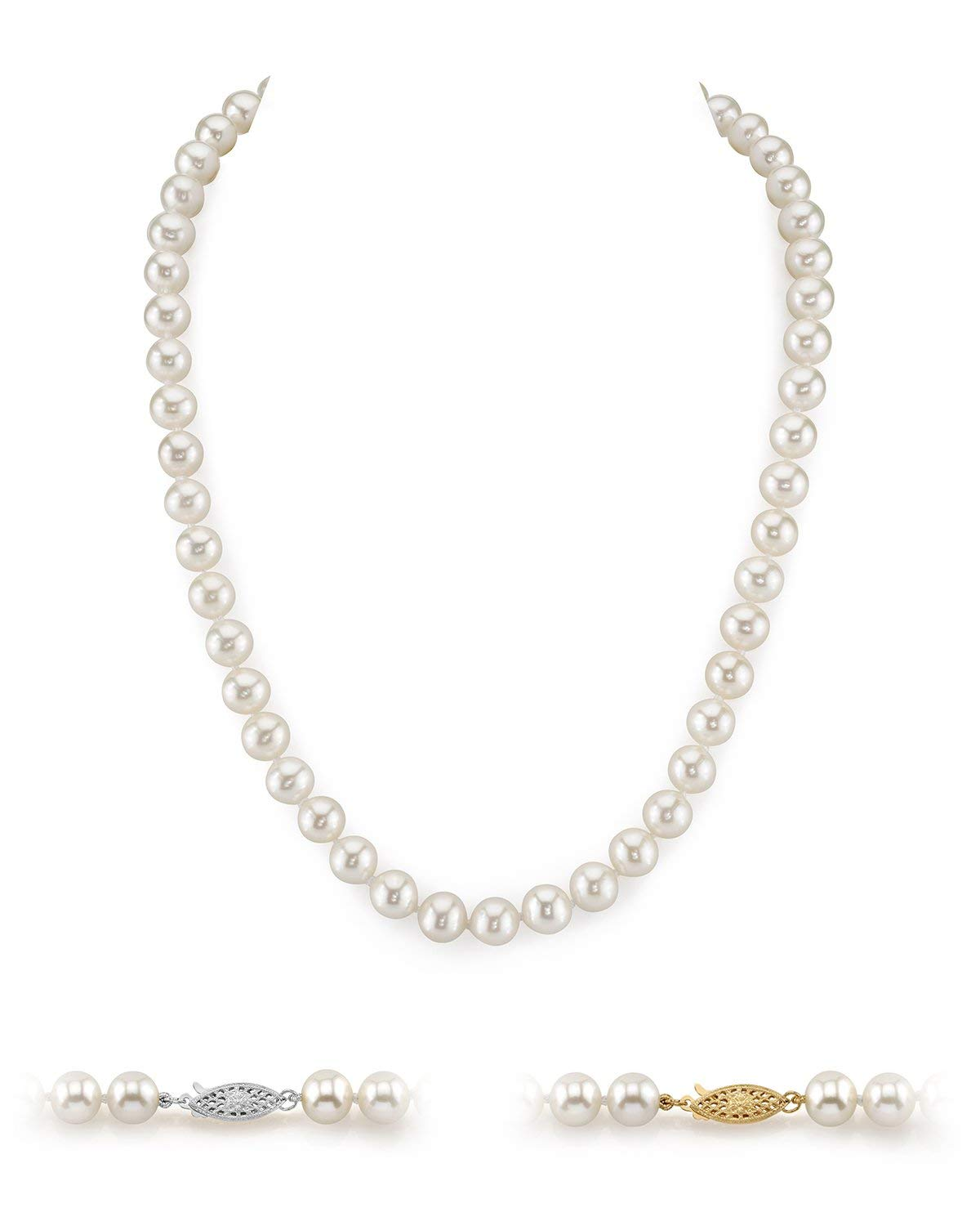 THE PEARL SOURCE 14K Gold 8-9mm AAA Quality White Freshwater Cultured Pearl Necklace for Women in 24'' Matinee Length by The Pearl Source