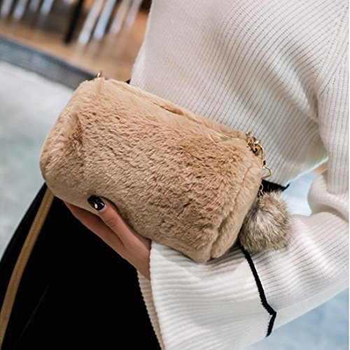 Voberry Candy Shoulder Pillow Women's Bag Bag Handbag Pretty Colors Plush Khaki Cute 44aBxqrfw
