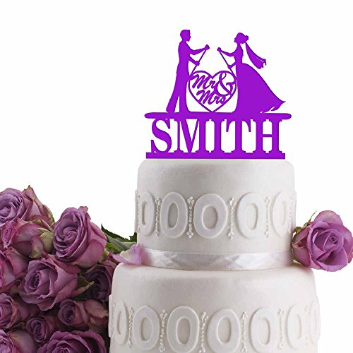 Groom Bride Paddle Board Personalized Wedding Cake Topper Last Name Date Solid Colors