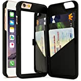 "iPhone 6 Plus Case, Bastex Hidden Back Wallet Mirror Case with Stand Feature and Card Holder for Apple iPhone 6 Plus, 6S Plus 5.5""- Black"