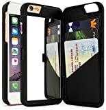 """iPhone 6 Plus Case, Bastex Hidden Back Wallet Mirror Case with Stand Feature and Card Holder for Apple iPhone 6 Plus, 6S Plus 5.5""""- Black"""