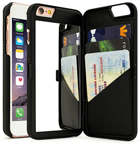 iPhone 6 Plus Case, Bastex Hidden Back Wallet Mirror Case with Stand Feature and Card Holder for Apple iPhone 6 Plus, 6S Plus 5.5