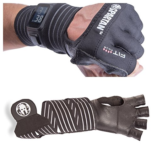 Fit Four OCR Slit Leather Gloves Obstacle Course Racing & Mud Run Hand Protection | Wrist Support with Slit for Fitness Watch (Black, Extra Large)