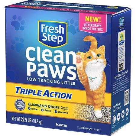 Fresh Step Clean Paws Triple Action Scented Litter, Clumping Cat Litter, 22.5 lbs Pack of 2