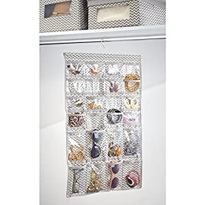 InterDesign Chevron Fabric Hanging Jewelry Organizer – 48 Pocket Accessory Storage Hanger for Closets or Doors, Taupe/Natural