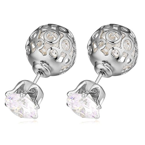 [Vintage Platinum Plating Earring AAA Zirconic Stud Earrings] (Diy Half Man Half Woman Costume)