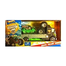 Mattel Hot Wheels Grave Digger Monster Jam Travel Treads Hauler by Mattel