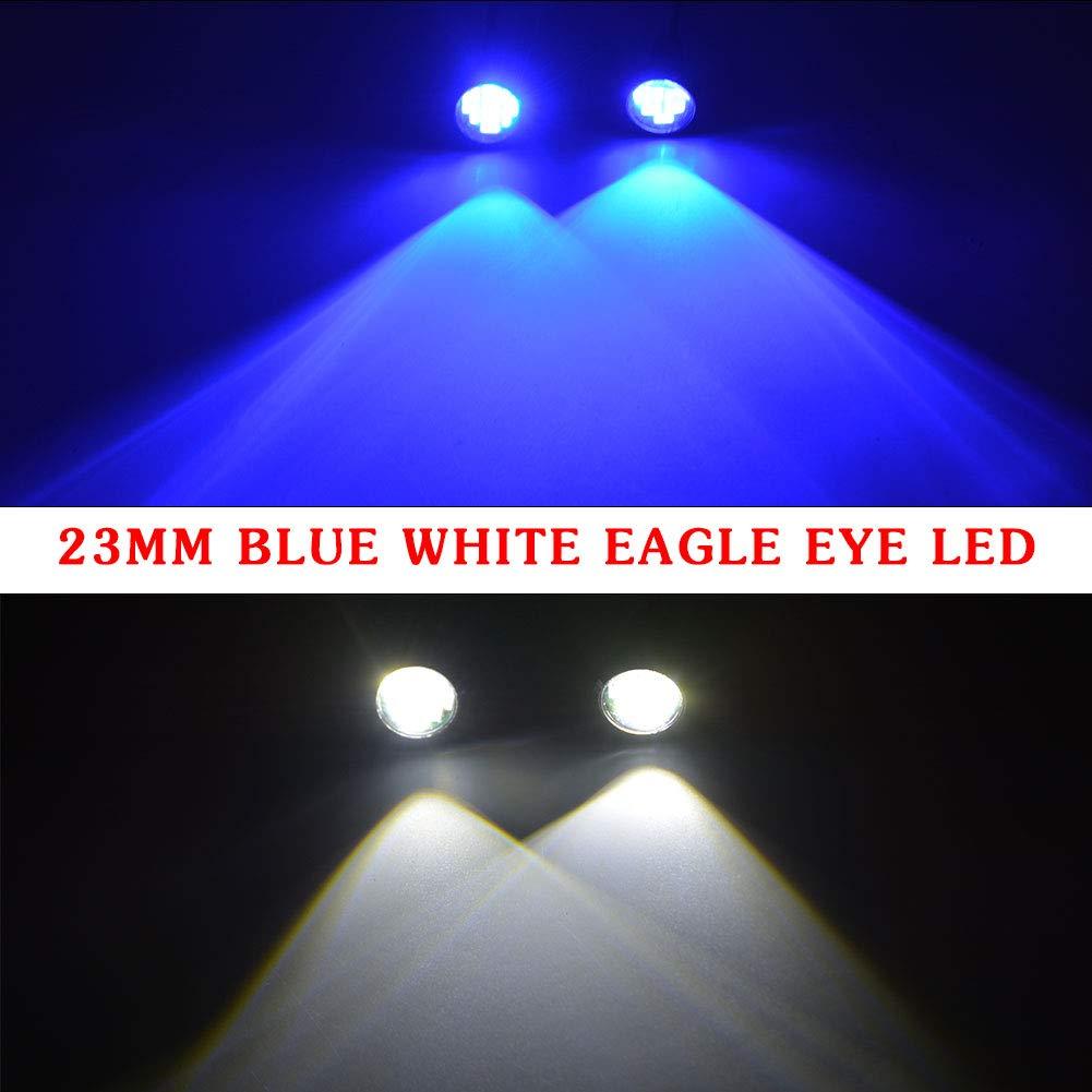 YINTATECH Universal 10pcs High Power White 9W Led Eagle Eye Bumper DRL Fog Lights Motorcycle Lights Daytime Running Tail Backup Light Car Motor Clearance Marker Lights 23mm, Red