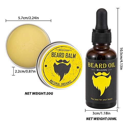 AMAZAC Men's Beard Growth Kit with Organic Beard Growth Oil Serum, Wood Comb, Titanium Microneedle Derma Roller , Balm and Trimming Scissors for Patchy Thin or Thick Facial Hair Growth