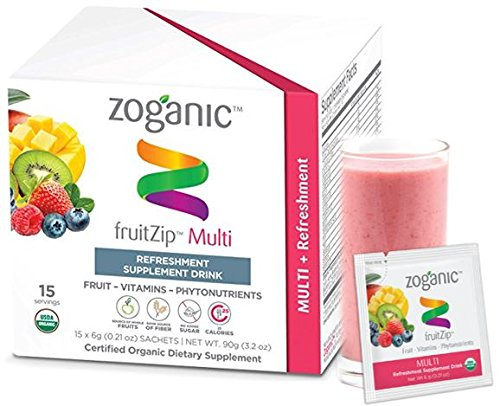 Zoganic fruitZip MultiVitamin Supplement Drink Mix for daily Support –All Organic vitamins &Minirals&Supperfood Straight from the Fruit with multi Berry flavor. Sweetened with Stevia–15 Powder Packets