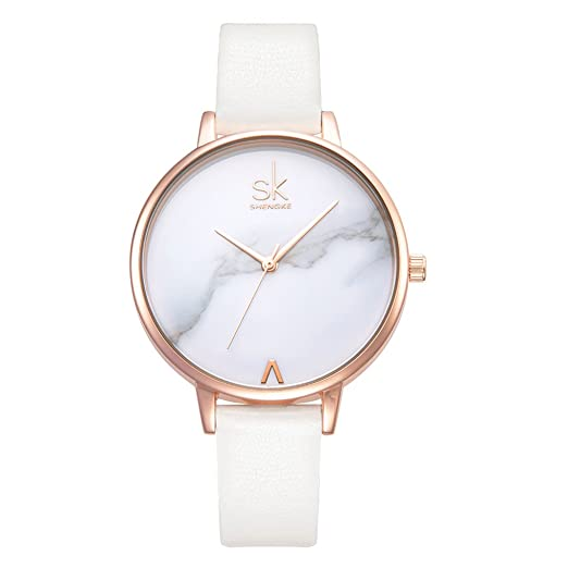 Fashion Marble Dial Watch Women Simply Quartz Watches Leather Band Casual Ladies Wristwatch best minimalist watches for women