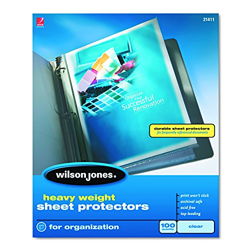 Wilson Jones Sheet Protectors, Heavy Weight, Top-Loading, Clear, 100 Sheets/Box (W21411) ()
